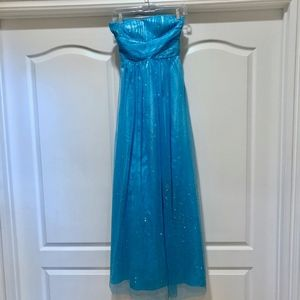Adrianna Papell Long Blue Strapless Dress - Size 2